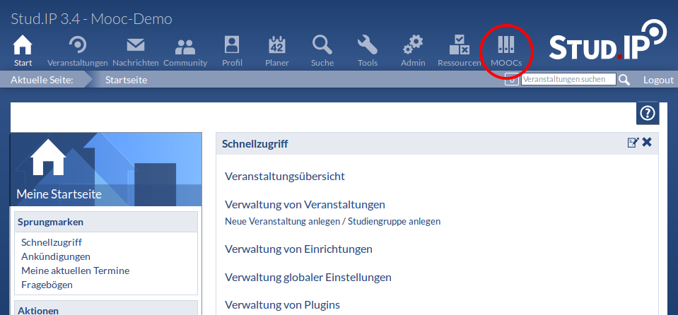 Screenshot von Mooc.IP - OpenCourses